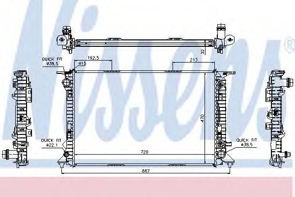 Радиатор, охлаждение двигателя NISSENS 60318