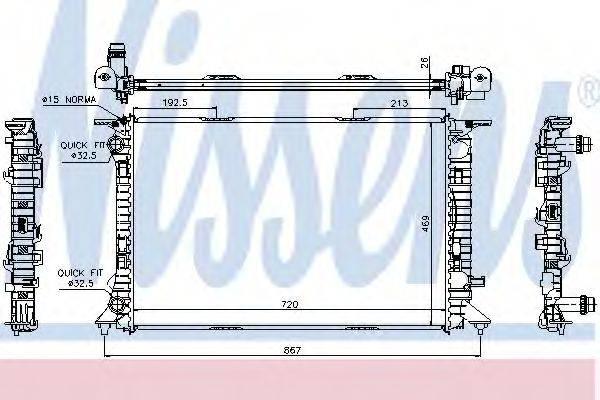Радиатор, охлаждение двигателя NISSENS 60323
