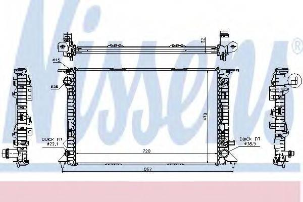 Радиатор, охлаждение двигателя NISSENS 60324