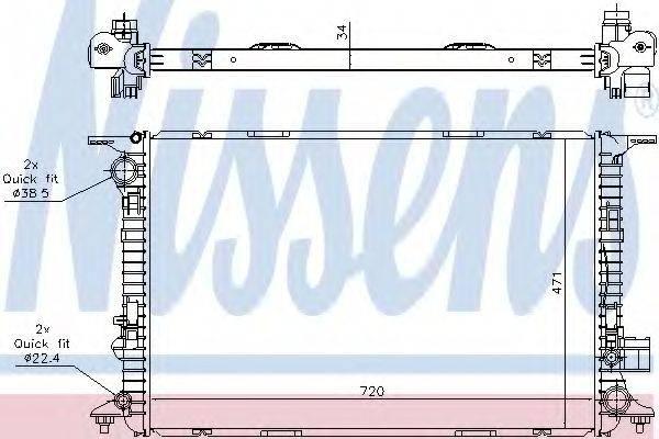 Радиатор, охлаждение двигателя NISSENS 60327