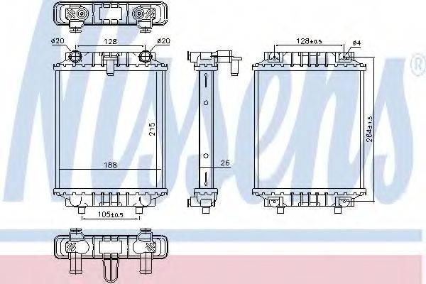 Радиатор, охлаждение двигателя NISSENS 60372