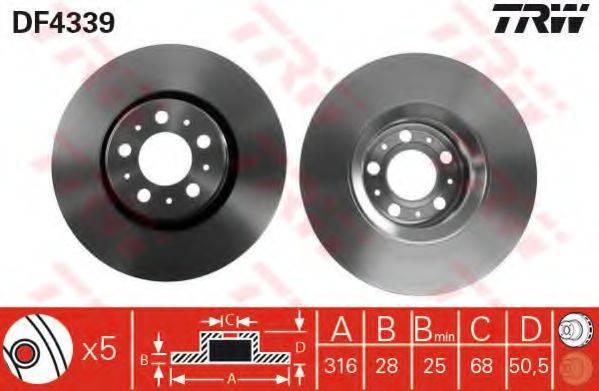 Тормозной диск TRW DF4339
