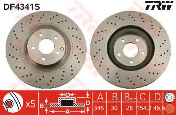 Тормозной диск TRW DF4341S