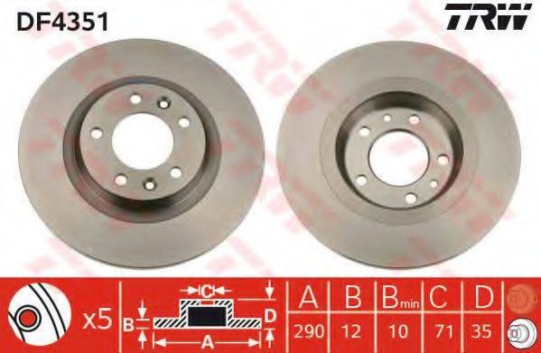 Тормозной диск TRW DF4351