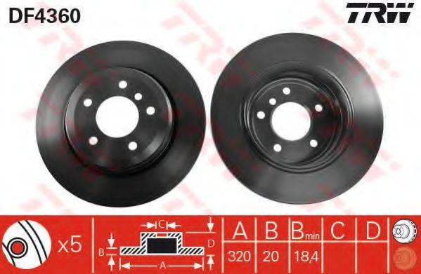Тормозной диск TRW DF4360