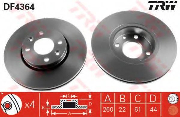 Тормозной диск TRW DF4364