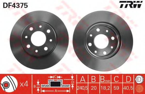 Тормозной диск TRW DF4375