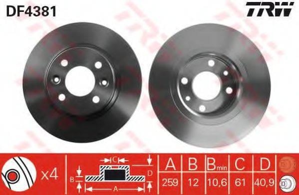 Тормозной диск TRW DF4381