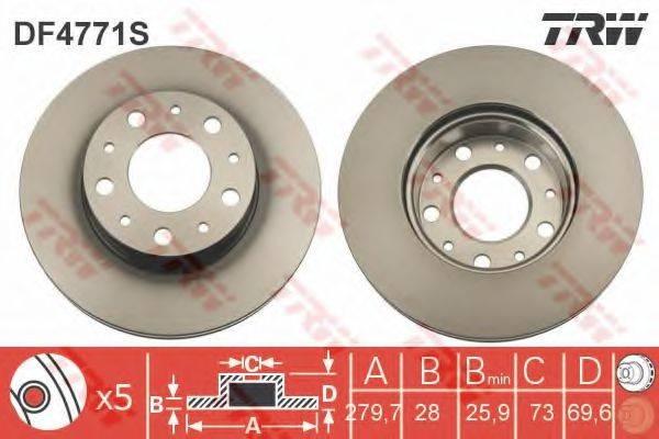Тормозной диск TRW DF4771S