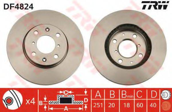 Тормозной диск TRW DF4824