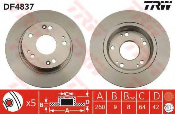 Тормозной диск TRW DF4837