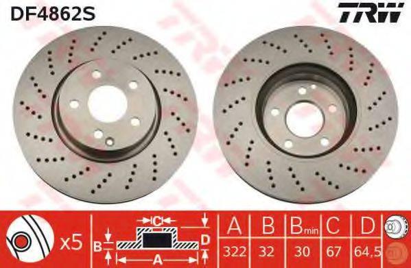 Тормозной диск TRW DF4862S