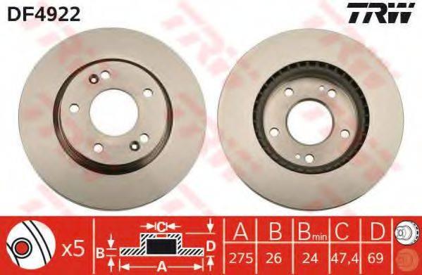 Тормозной диск TRW DF4922