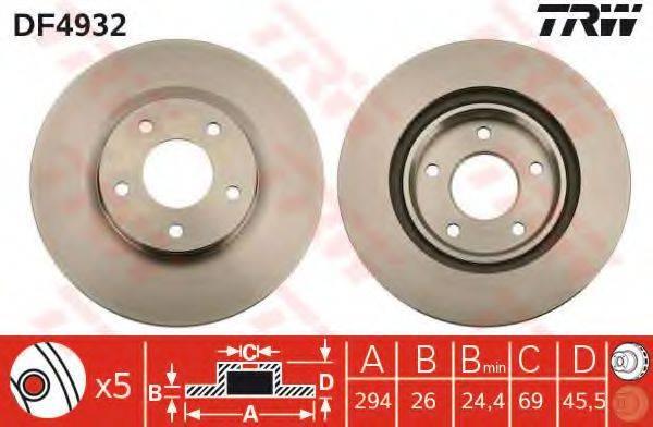 Тормозной диск TRW DF4932