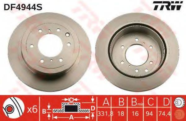 Тормозной диск TRW DF4944S