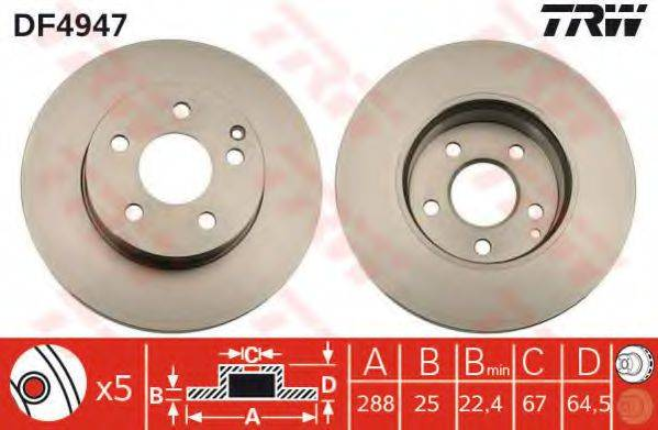 Тормозной диск TRW DF4947