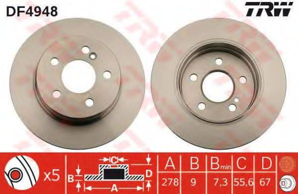 Тормозной диск TRW DF4948