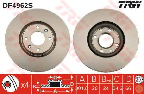 Тормозной диск TRW DF4962S
