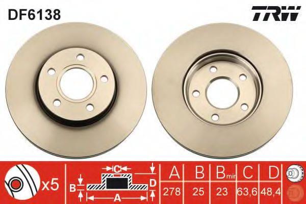 Тормозной диск TRW DF6138