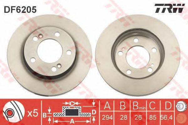 Тормозной диск TRW DF6205
