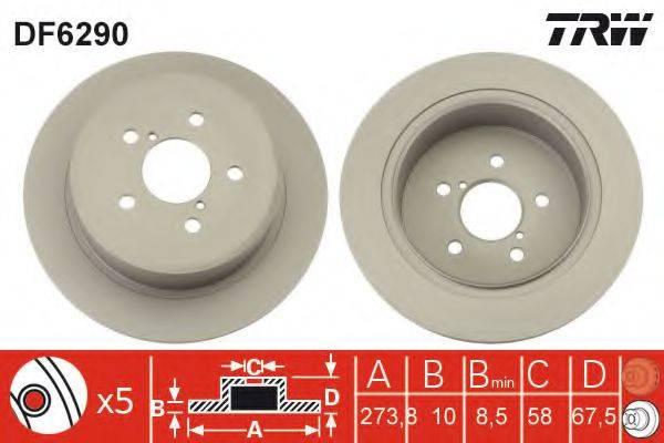 Тормозной диск TRW DF6290