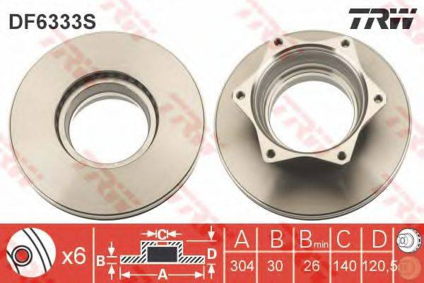 Тормозной диск TRW DF6333S