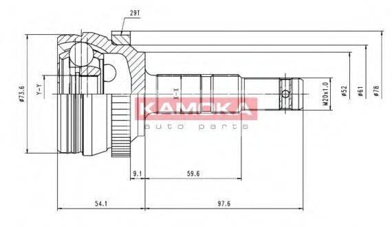 Шарнирный комплект, приводной вал KAMOKA 6036
