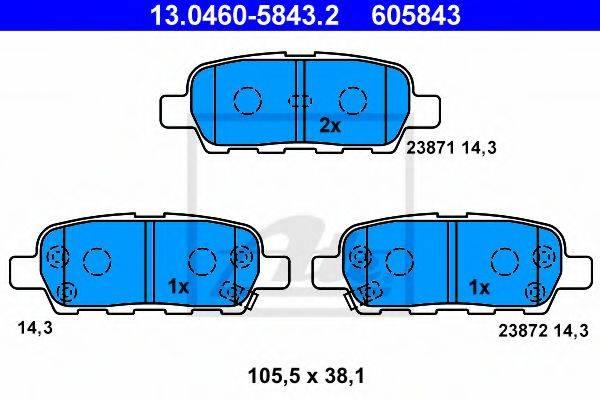 ATE 13046058432 Комплект тормозных колодок, дисковый тормоз