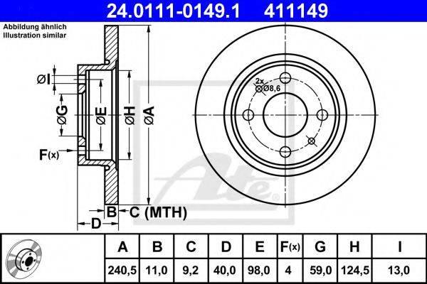 ATE 24011101491 Тормозной диск