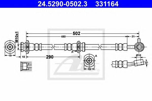 ATE 24529005023 Тормозной шланг