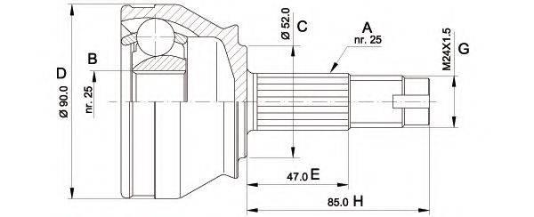 OPEN PARTS CVJ501410 Шарнирный комплект, приводной вал