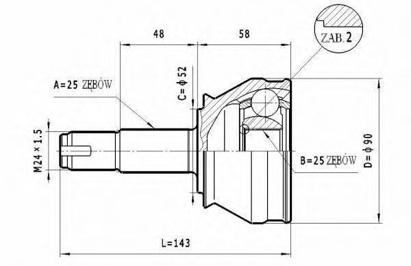 STATIM C172 Шарнирный комплект, приводной вал