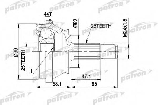 PATRON PCV1110 Шарнирный комплект, приводной вал