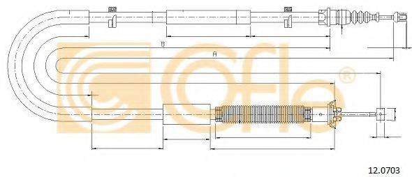 Трос, стояночная тормозная система COFLE 12.0703