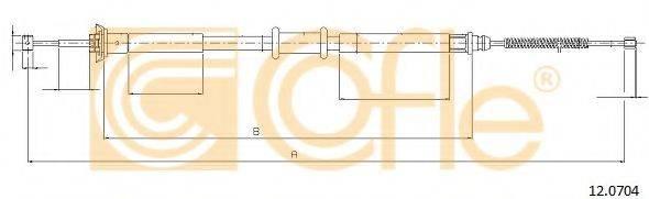 Трос, стояночная тормозная система COFLE 12.0704