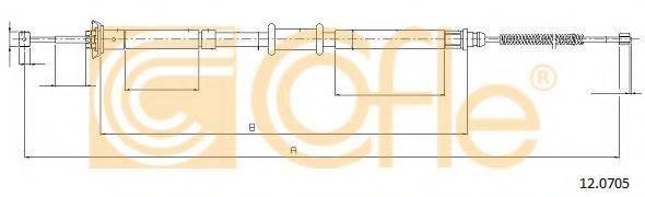 Трос, стояночная тормозная система COFLE 12.0705