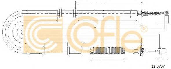 Трос, стояночная тормозная система COFLE 12.0707