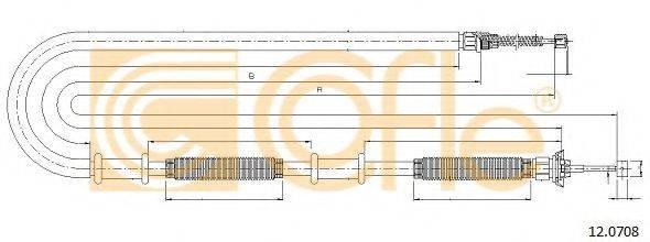 Трос, стояночная тормозная система COFLE 12.0708