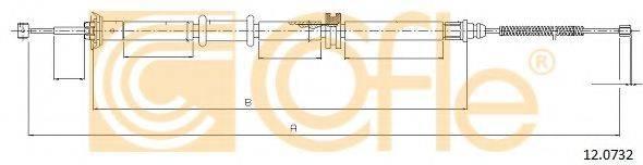 Трос, стояночная тормозная система COFLE 12.0732