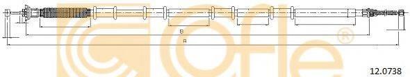Трос, стояночная тормозная система COFLE 12.0738