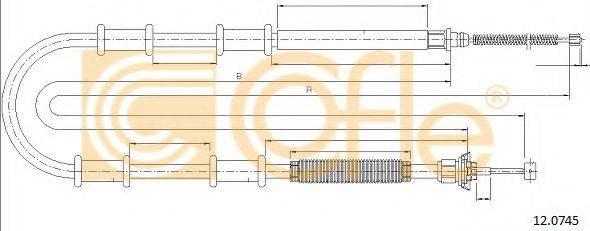 Трос, стояночная тормозная система COFLE 12.0745