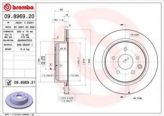 BREMBO 09896920 Тормозной диск