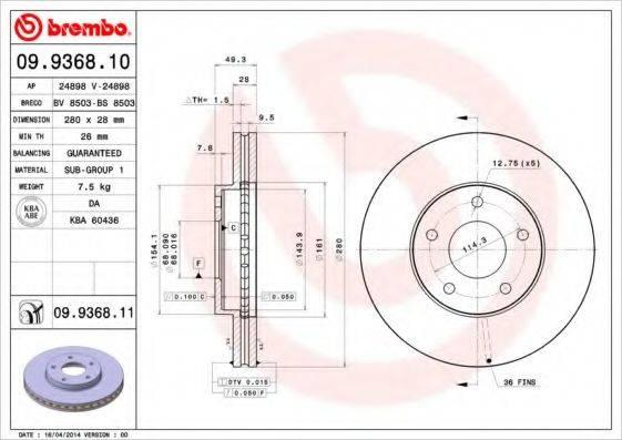 BREMBO 09936810 Тормозной диск