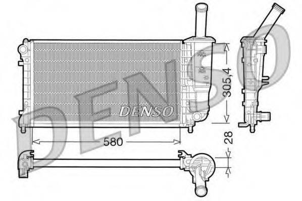 Радиатор, охлаждение двигателя DENSO DRM09108
