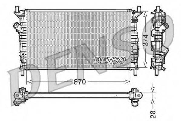 Радиатор, охлаждение двигателя DENSO DRM10074
