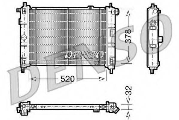 Радиатор, охлаждение двигателя DENSO DRM20030