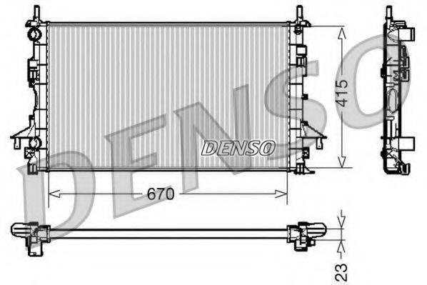 Радиатор, охлаждение двигателя DENSO DRM23083