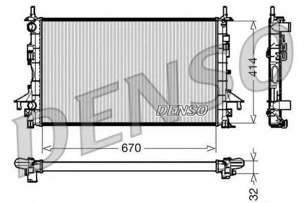 Радиатор, охлаждение двигателя DENSO DRM23084