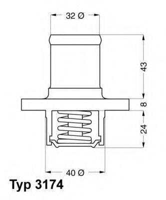 Термостат, охлаждающая жидкость WAHLER 3174.89D
