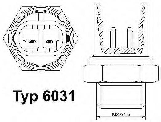 Термовыключатель, вентилятор радиатора WAHLER 6031.100D